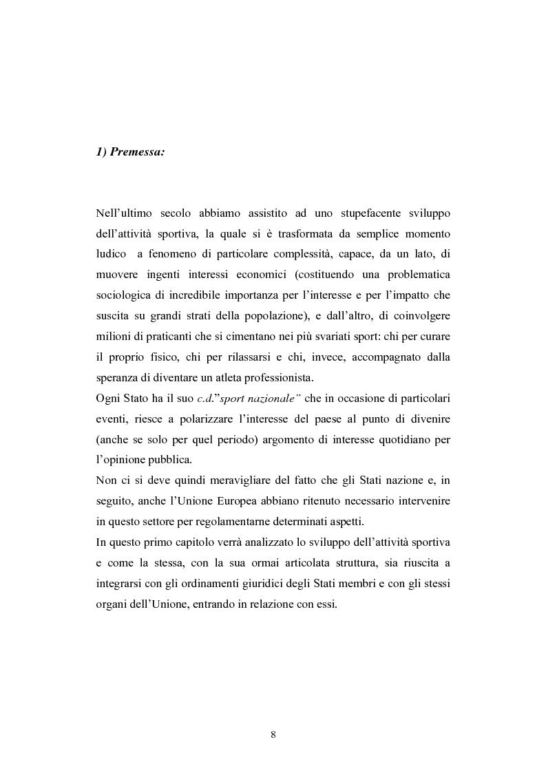 Anteprima della tesi: La Comunità europea e lo sport: problematiche giuridiche scaturite dalla sentenza Bosman, Pagina 1