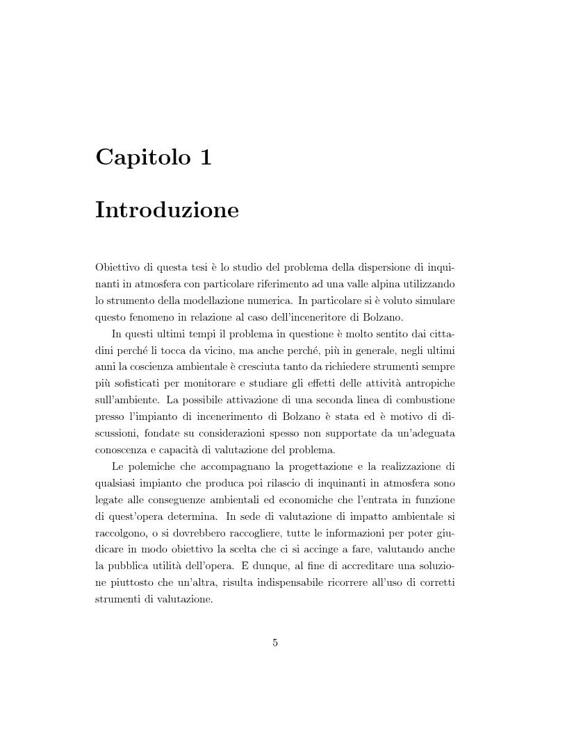 Anteprima della tesi: Modellazione numerica di processi di dispersione in atmosfera: applicazione alla conca di Bolzano, Pagina 1