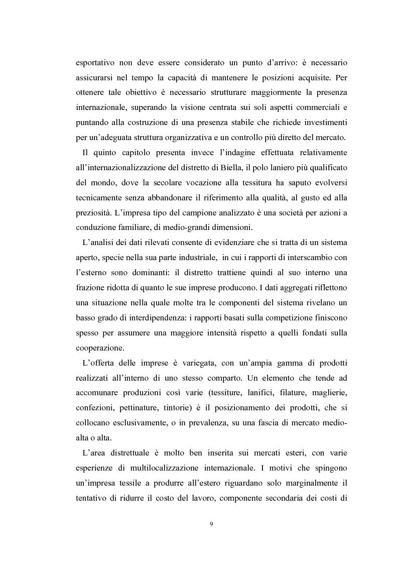 Anteprima della tesi: Le problematiche di internazionalizzazione delle imprese appartenenti ai distretti industriali: il caso delle province di Novara, Vercelli e Biella, Pagina 9