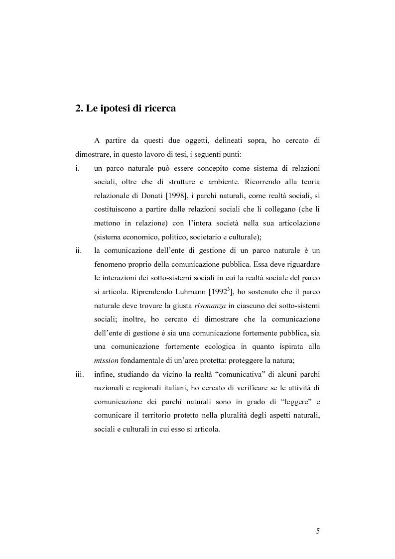 Anteprima della tesi: Società e comunicazione nei parchi naturali, Pagina 5