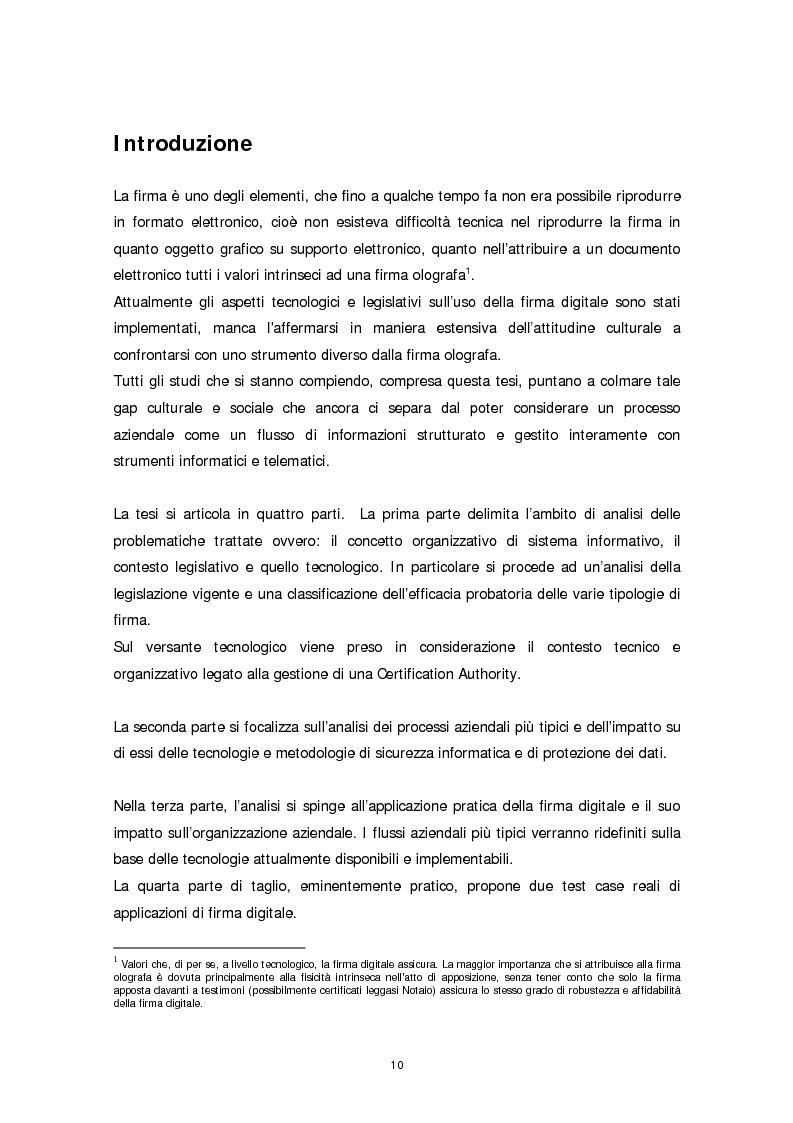 Anteprima della tesi: Il ruolo della firma digitale e delle tecnologie di sicurezza informatica nella ridefinizione dei processi aziendali, Pagina 2