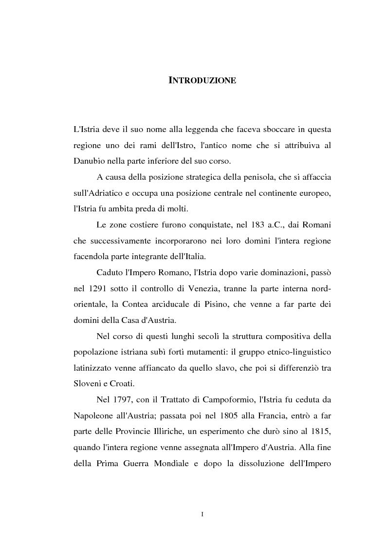 Anteprima della tesi: L'Istria e la minoranza italiana nella crisi jugoslava, Pagina 1
