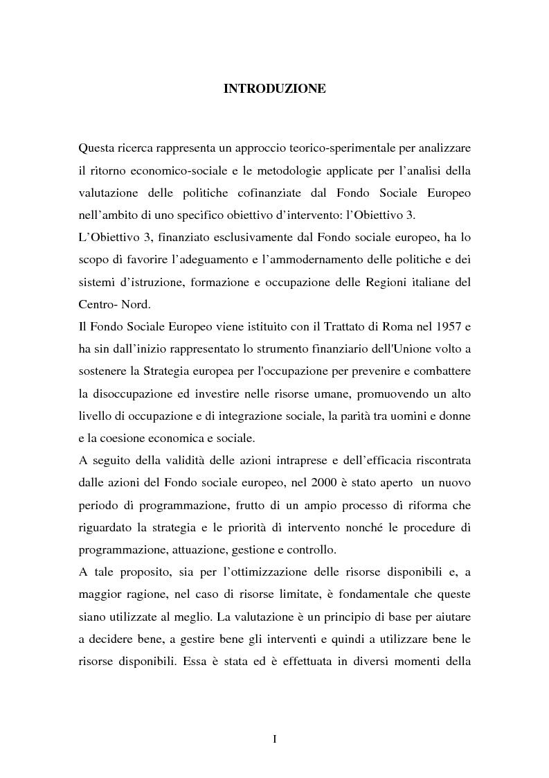 Anteprima della tesi: La valutazione delle politiche del Fondo Sociale Europeo, Pagina 1