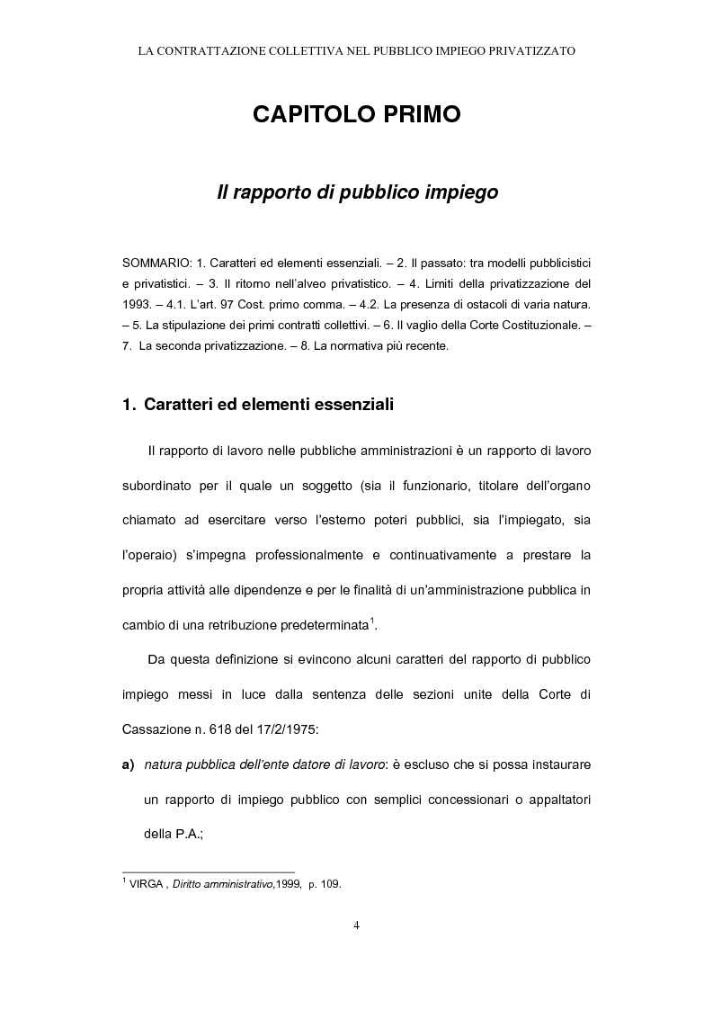 Anteprima della tesi: Il rapporto di pubblico impiego dopo la privatizzazione, Pagina 4