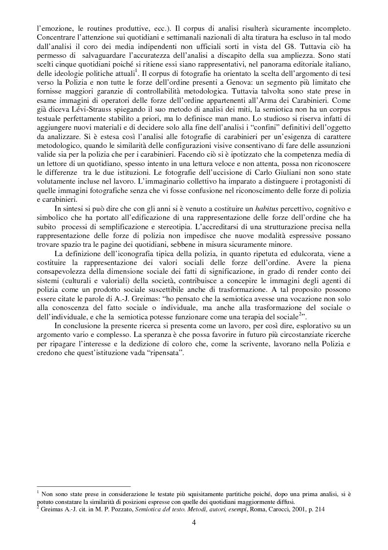 Anteprima della tesi: I buoni e i cattivi. La Polizia nelle rappresentazioni fotografiche durante gli scontri di Genova: un'analisi semiotica, Pagina 2