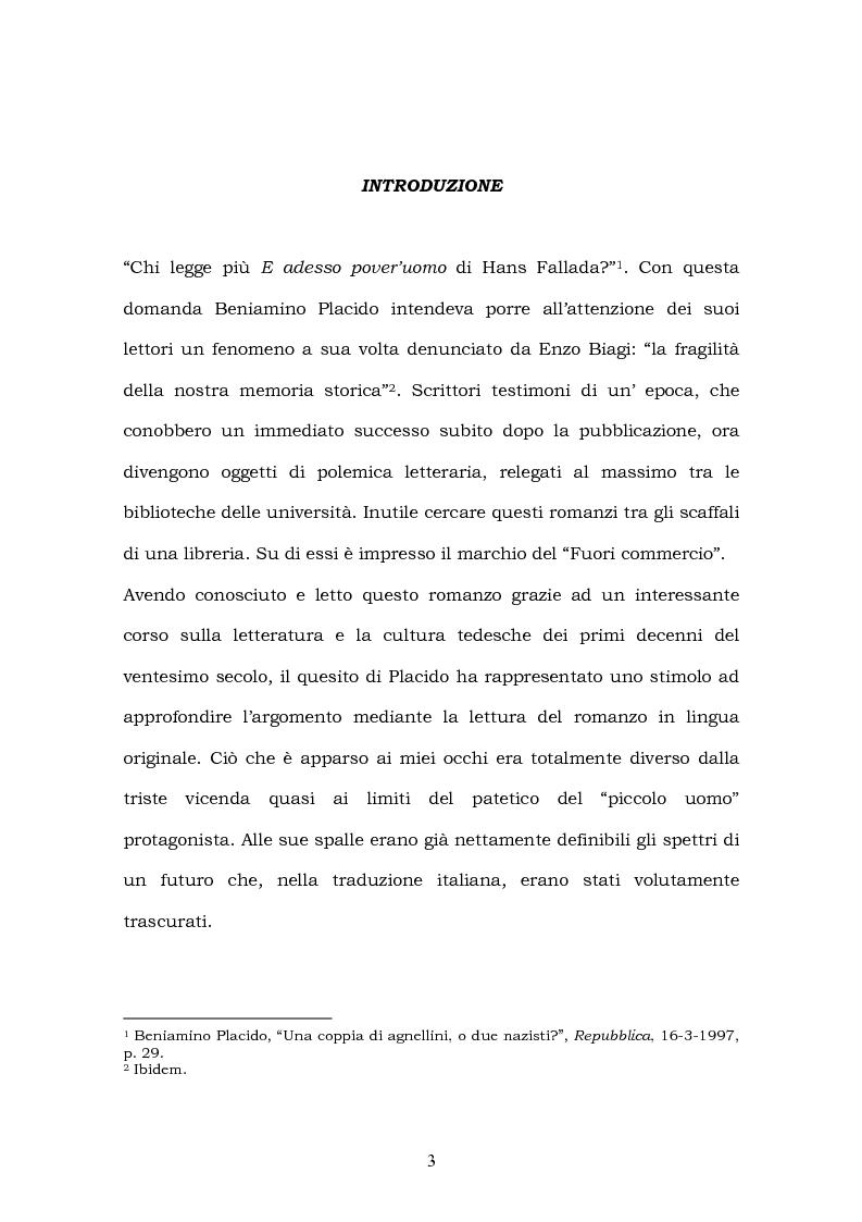 Anteprima della tesi: Hans Fallada e il suo ''Kleiner Mann, was nun?'' nel 2003. Una traduzione rivisitata, Pagina 1