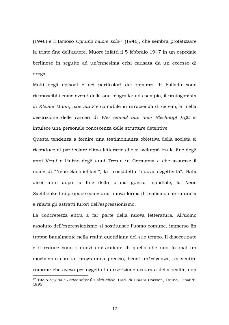 Anteprima della tesi: Hans Fallada e il suo ''Kleiner Mann, was nun?'' nel 2003. Una traduzione rivisitata, Pagina 10