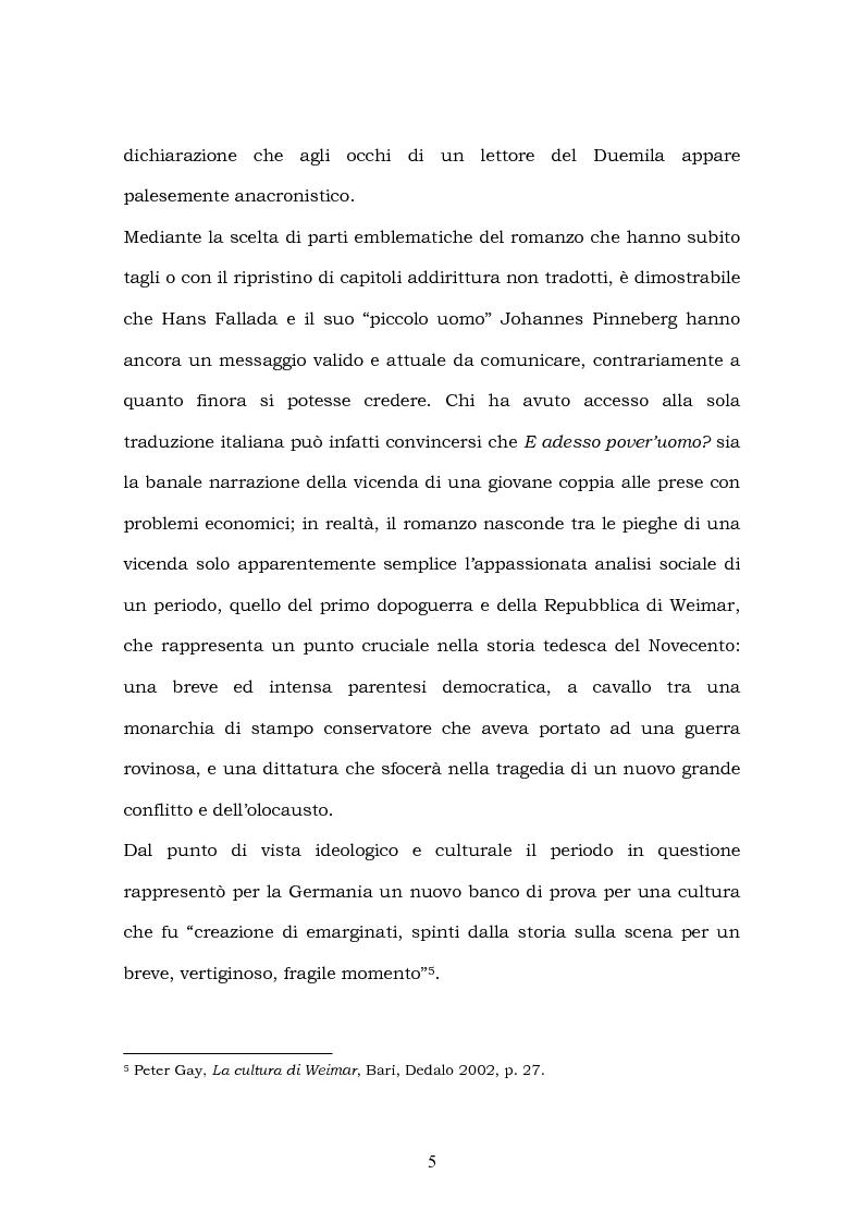 Anteprima della tesi: Hans Fallada e il suo ''Kleiner Mann, was nun?'' nel 2003. Una traduzione rivisitata, Pagina 3