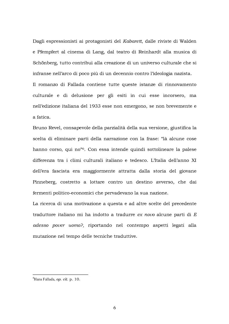 Anteprima della tesi: Hans Fallada e il suo ''Kleiner Mann, was nun?'' nel 2003. Una traduzione rivisitata, Pagina 4