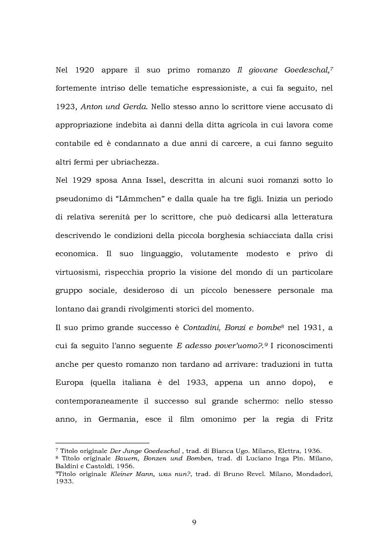 Anteprima della tesi: Hans Fallada e il suo ''Kleiner Mann, was nun?'' nel 2003. Una traduzione rivisitata, Pagina 7