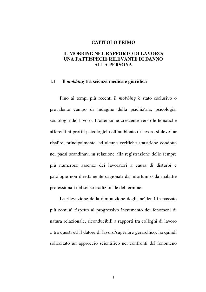 Anteprima della tesi: Lesioni da mobbing e responsabilità, Pagina 5