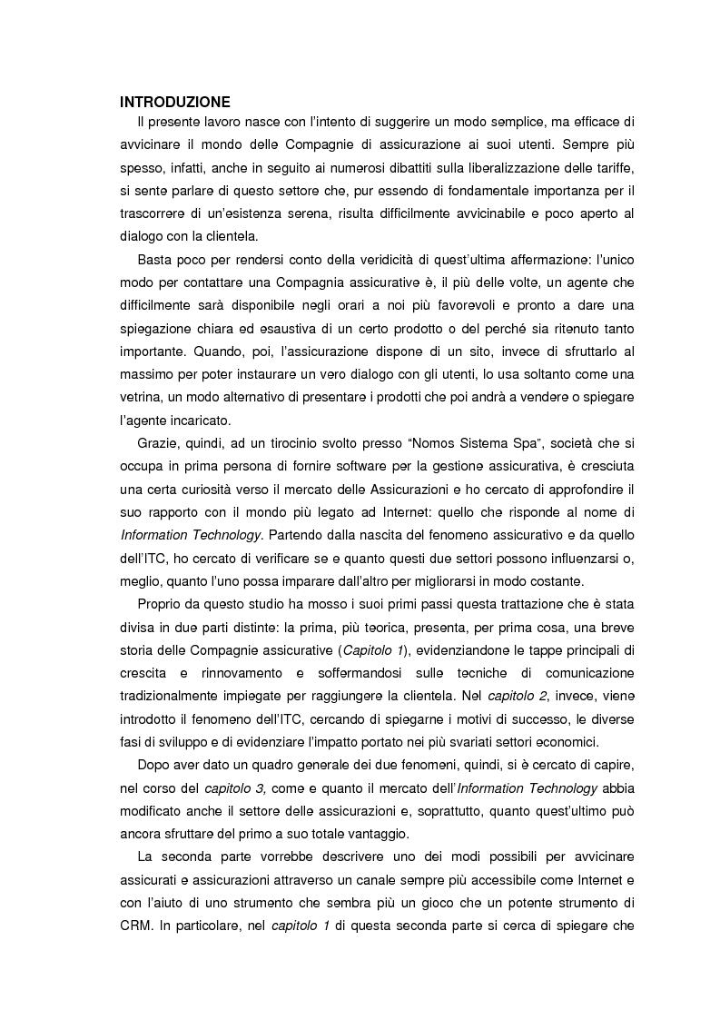 Anteprima della tesi: L'information technology nelle compagnie di assicurazione: programmazione di un consulente virtuale, Pagina 1