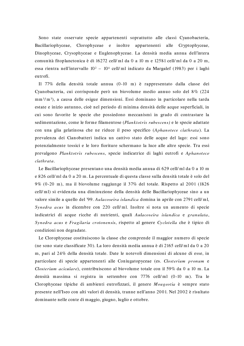 Anteprima della tesi: Valutazione della comunità fitoplanctonica di un grande lago subalpino, il lago d'Iseo, Pagina 2