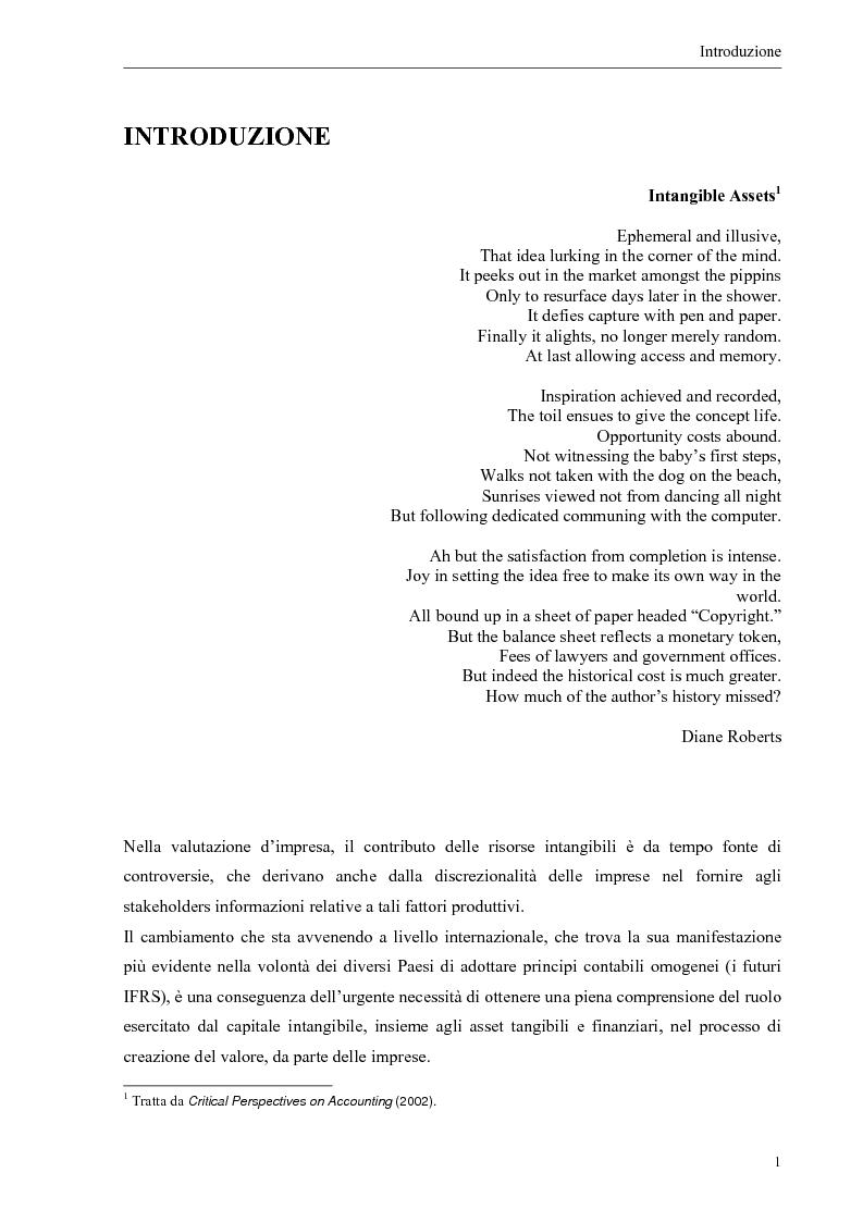 Anteprima della tesi: Il contributo dei fattori intangibili nella valutazione d'impresa, Pagina 1
