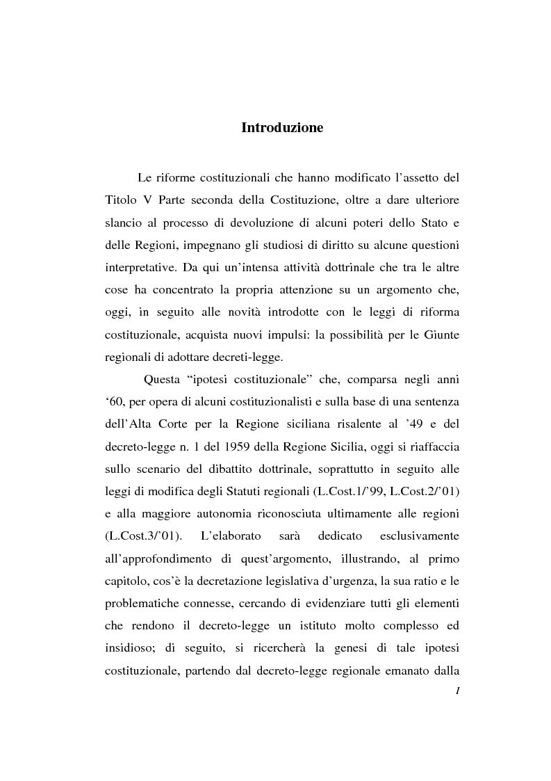 Anteprima della tesi: Decreto-legge Regionale: la riemersione di una vecchia ipotesi ed i suoi profili costituzionali, Pagina 1