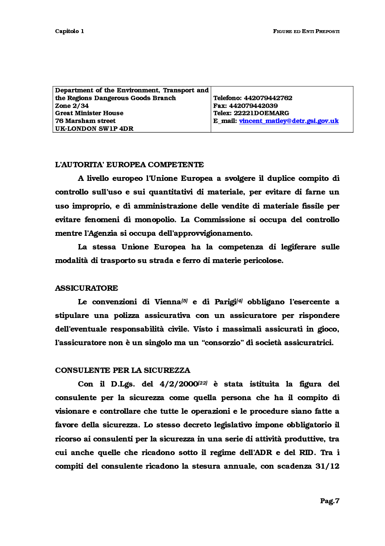 Anteprima della tesi: Il trasporto del combustibile nucleare: regolamenti, fattibilità e verifica sul caso dell'irraggiato del Garigliano, Pagina 7