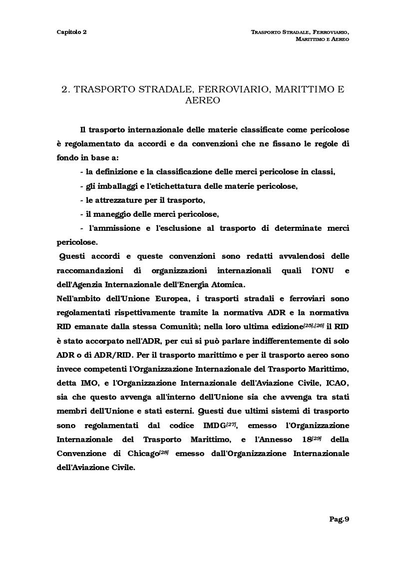 Anteprima della tesi: Il trasporto del combustibile nucleare: regolamenti, fattibilità e verifica sul caso dell'irraggiato del Garigliano, Pagina 9