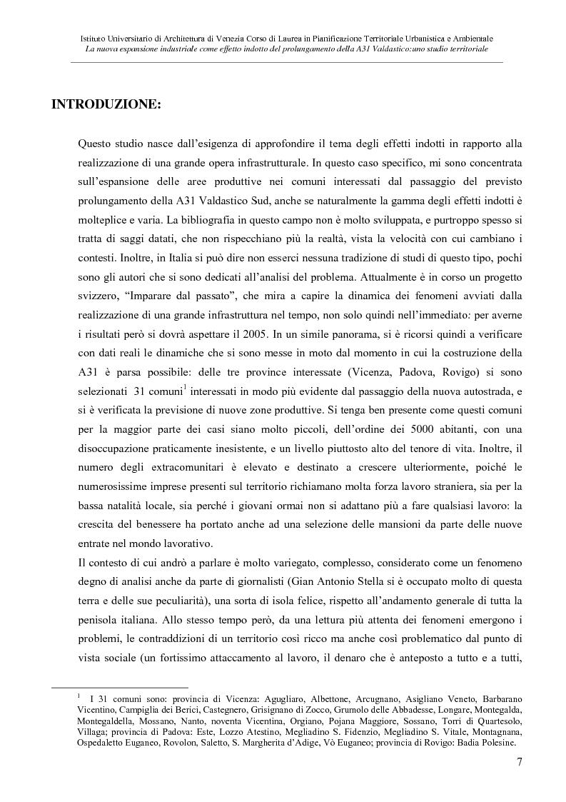 Anteprima della tesi: La nuove espansione produttiva come effetto indotto del prolungamento della A31 Valdastico Sud. Uno studio territoriale, Pagina 1