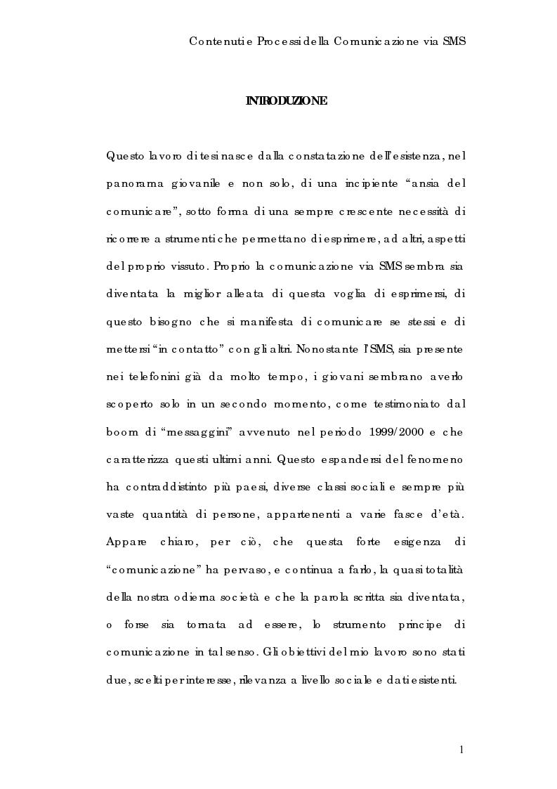 Anteprima della tesi: Contenuti e processi della comunicazione via Sms, Pagina 1