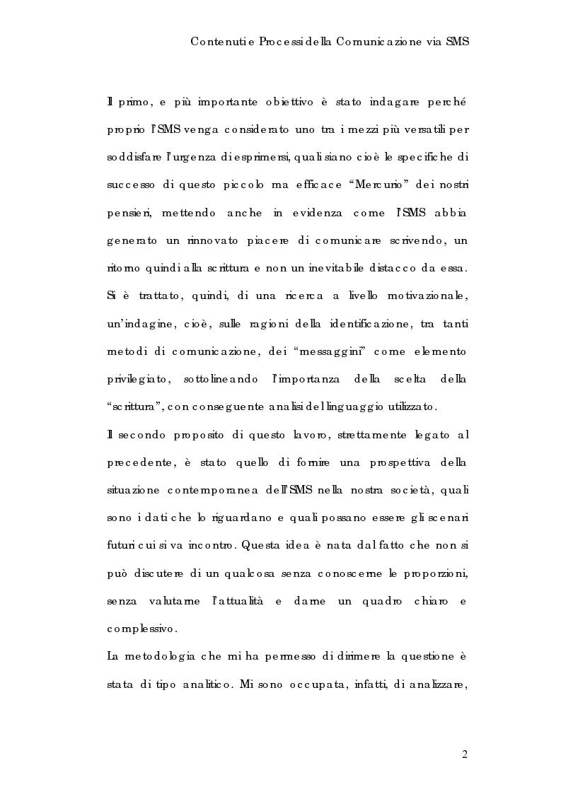 Anteprima della tesi: Contenuti e processi della comunicazione via Sms, Pagina 2