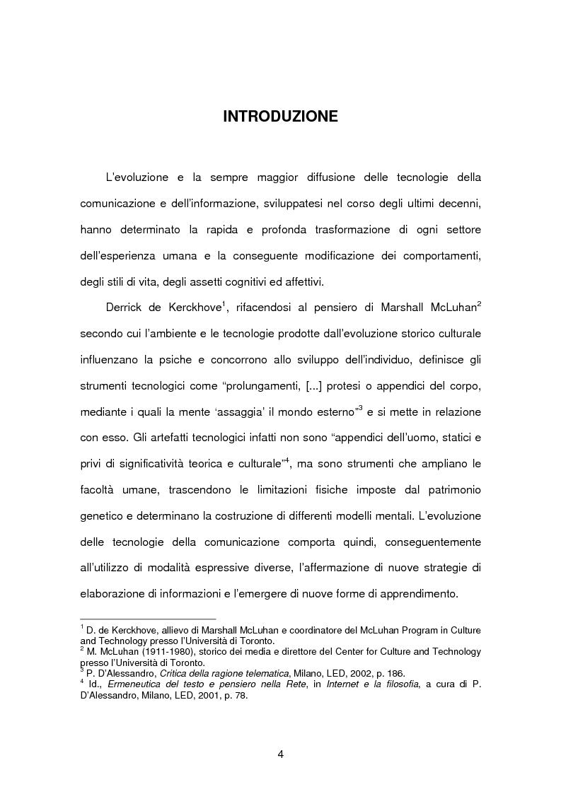 Anteprima della tesi: Tecnopsicologia e infanzia. Processi di apprendimento e utilizzo delle nuove tecnologie in ambito formativo, Pagina 1