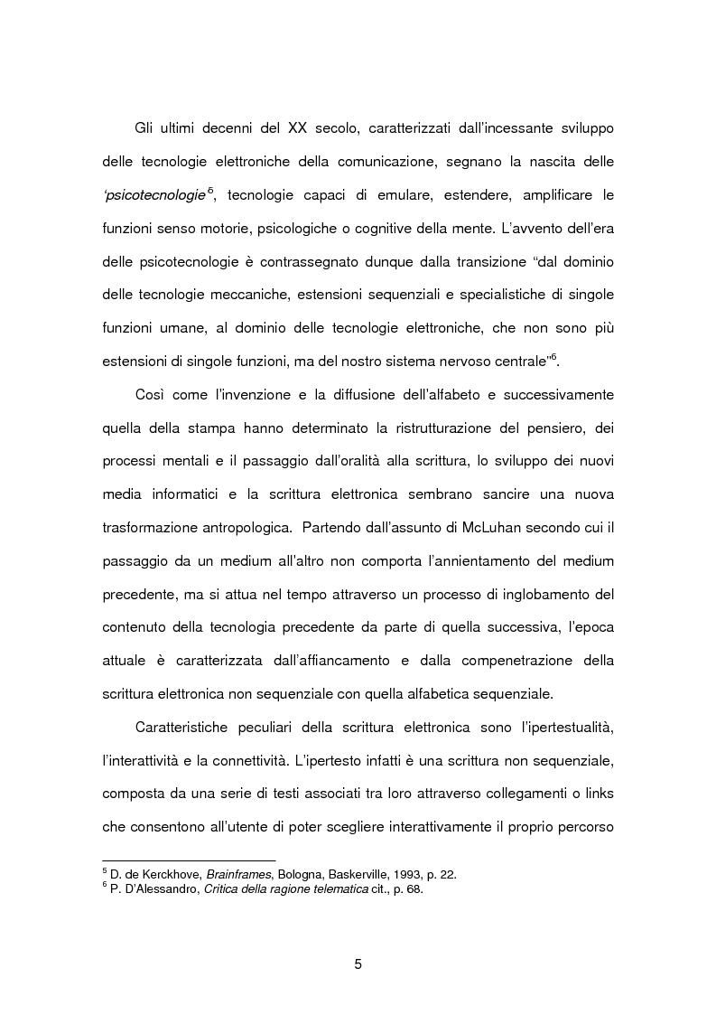 Anteprima della tesi: Tecnopsicologia e infanzia. Processi di apprendimento e utilizzo delle nuove tecnologie in ambito formativo, Pagina 2