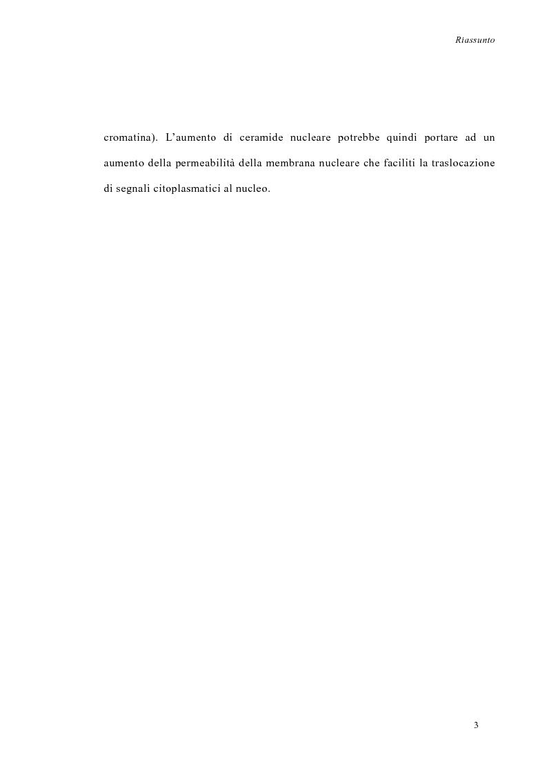 Anteprima della tesi: La deprivazione di siero induce variazioni nell'attività di enzimi nucleari coinvolti nel metabolismo degli sfingolipidi, Pagina 3