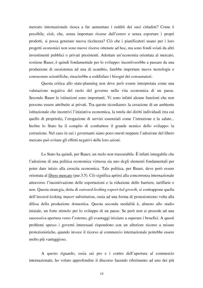 Anteprima della tesi: Peter Bauer: la rivalutazione di un approccio liberista ai problemi del sottosviluppo e del ruolo degli aiuti internazionali, Pagina 13