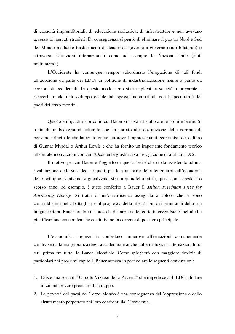 Anteprima della tesi: Peter Bauer: la rivalutazione di un approccio liberista ai problemi del sottosviluppo e del ruolo degli aiuti internazionali, Pagina 2