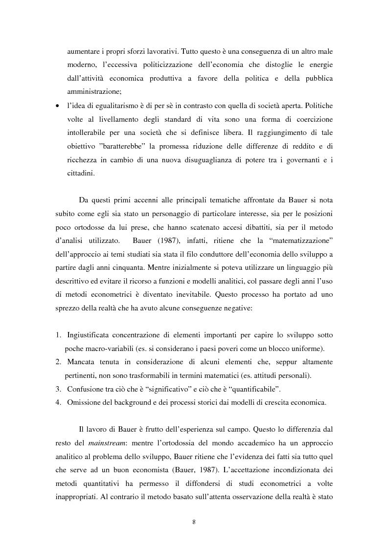 Anteprima della tesi: Peter Bauer: la rivalutazione di un approccio liberista ai problemi del sottosviluppo e del ruolo degli aiuti internazionali, Pagina 6