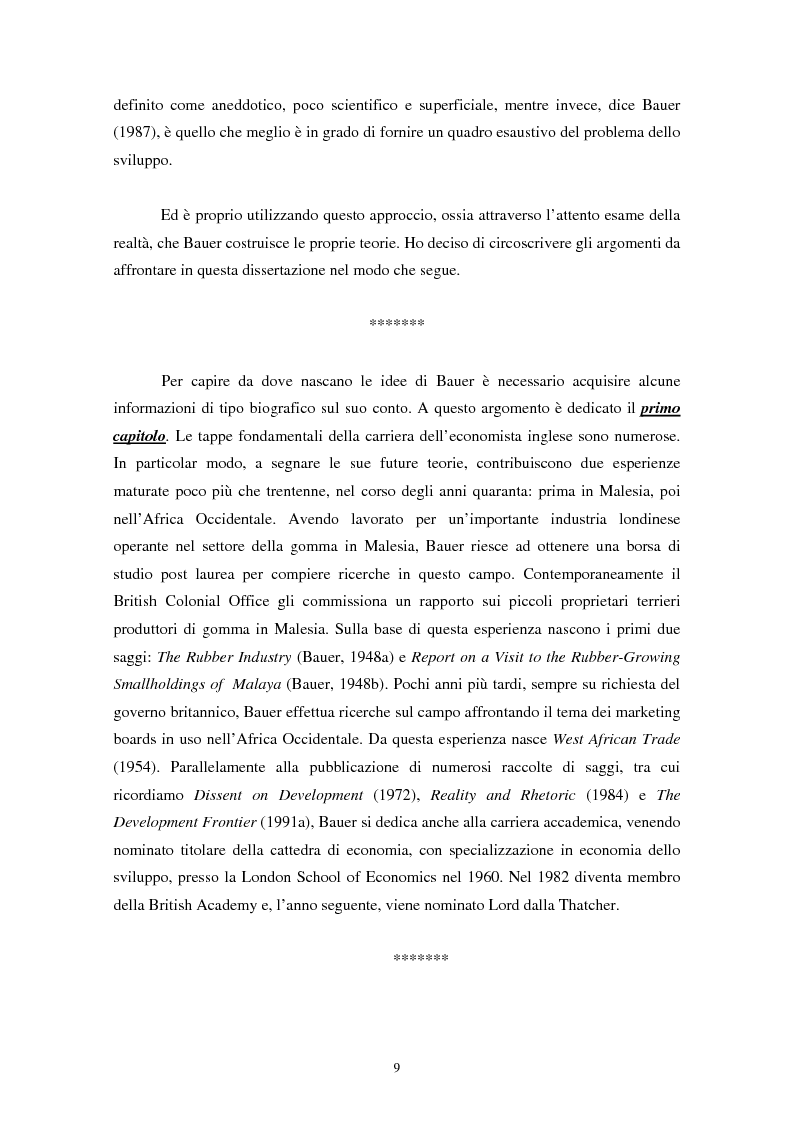 Anteprima della tesi: Peter Bauer: la rivalutazione di un approccio liberista ai problemi del sottosviluppo e del ruolo degli aiuti internazionali, Pagina 7