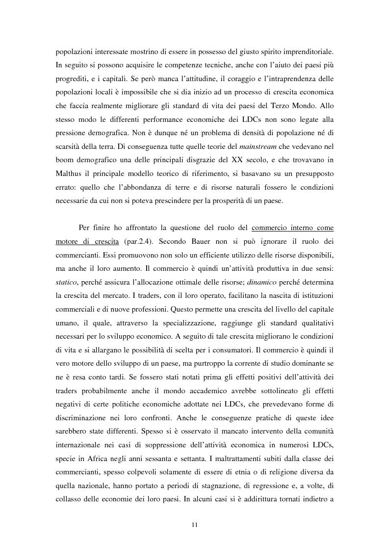 Anteprima della tesi: Peter Bauer: la rivalutazione di un approccio liberista ai problemi del sottosviluppo e del ruolo degli aiuti internazionali, Pagina 9