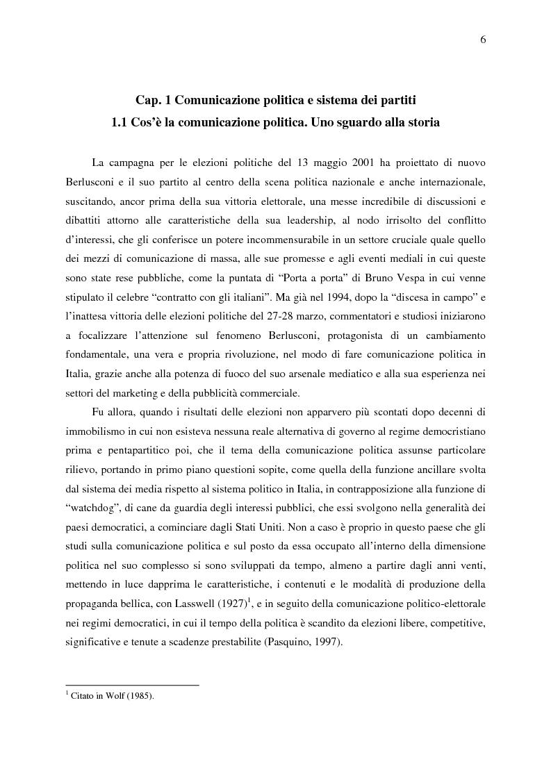 Anteprima della tesi: La comunicazione politica di Forza Italia e del suo leader Silvio Berlusconi, Pagina 4