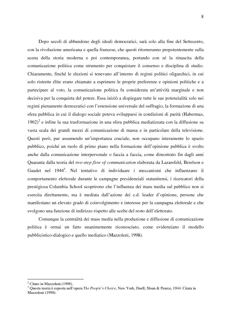 Anteprima della tesi: La comunicazione politica di Forza Italia e del suo leader Silvio Berlusconi, Pagina 6