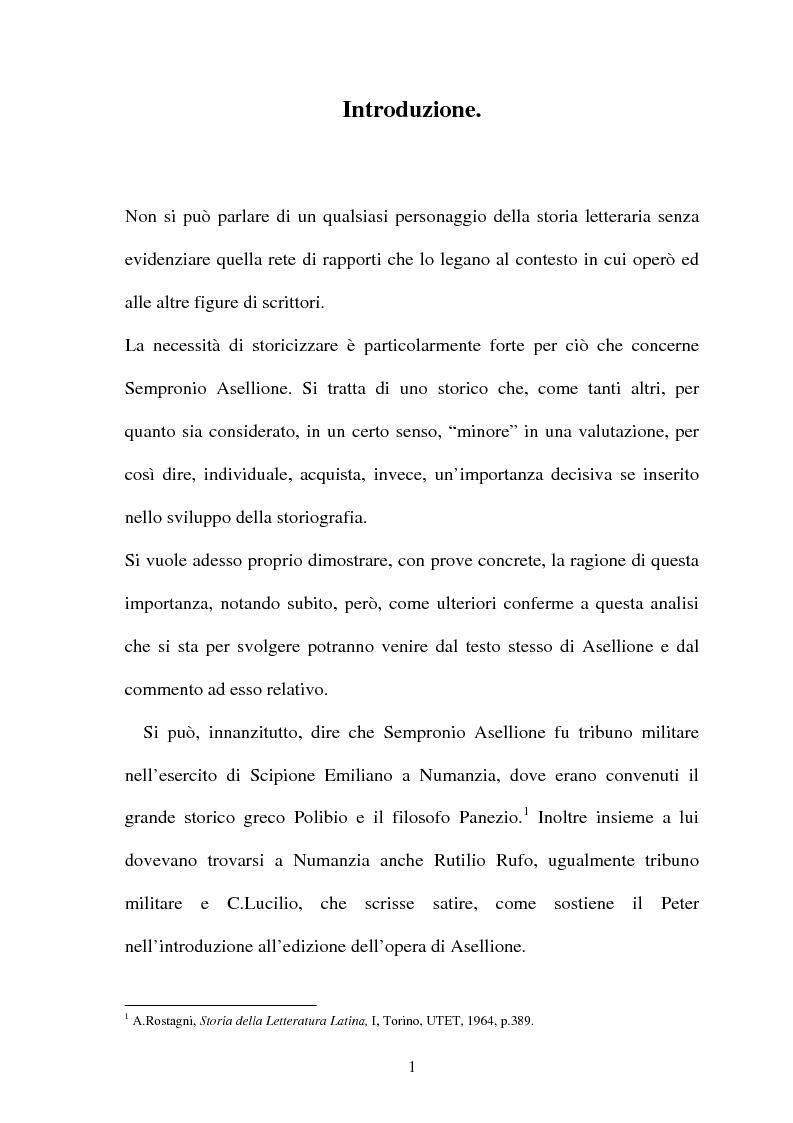 Anteprima della tesi: I frammenti di Sempronio Asellione, Pagina 1