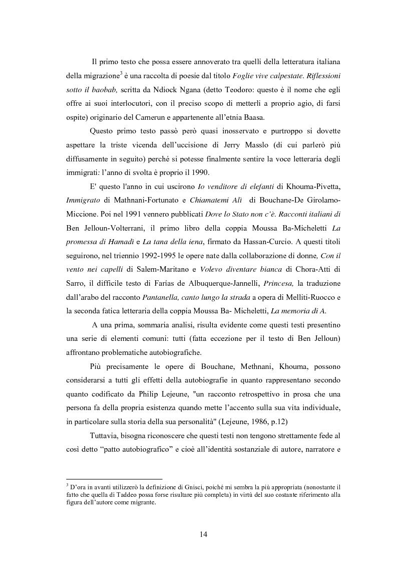 Anteprima della tesi: Scritture a più voci. Il problema dell'autorialità nei primi testi della letteratura italiana della migrazione, Pagina 10
