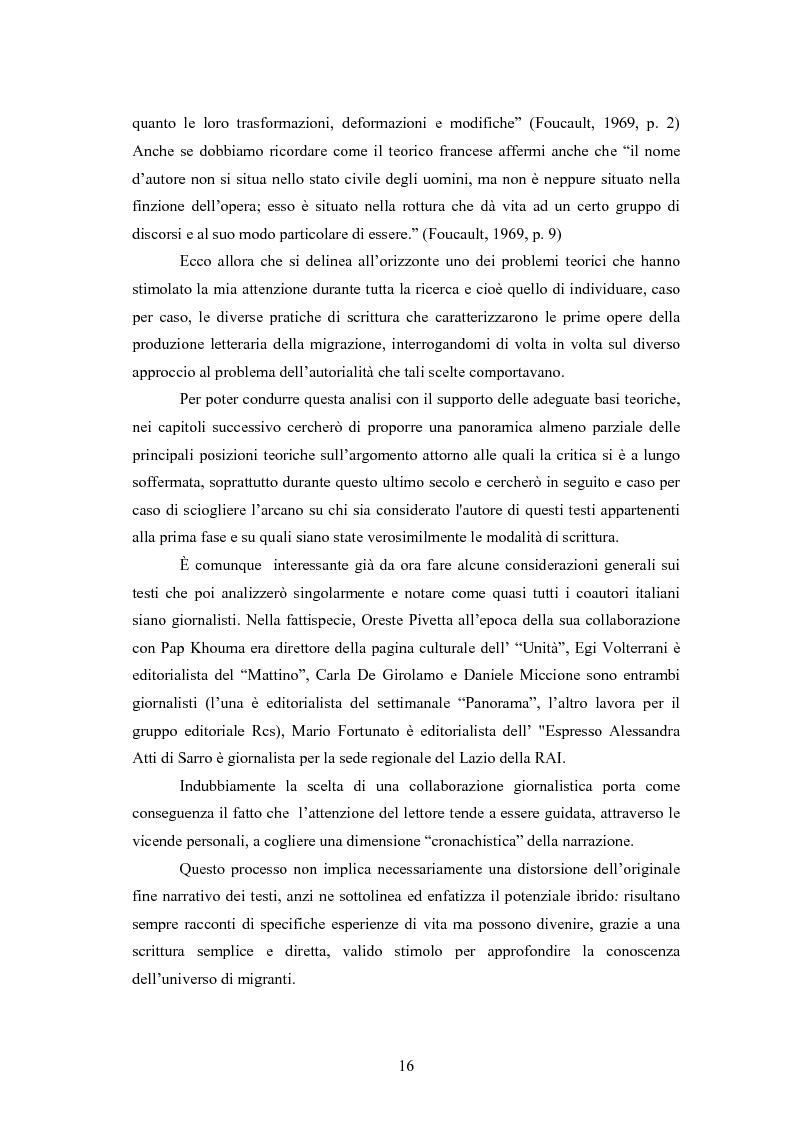 Anteprima della tesi: Scritture a più voci. Il problema dell'autorialità nei primi testi della letteratura italiana della migrazione, Pagina 12