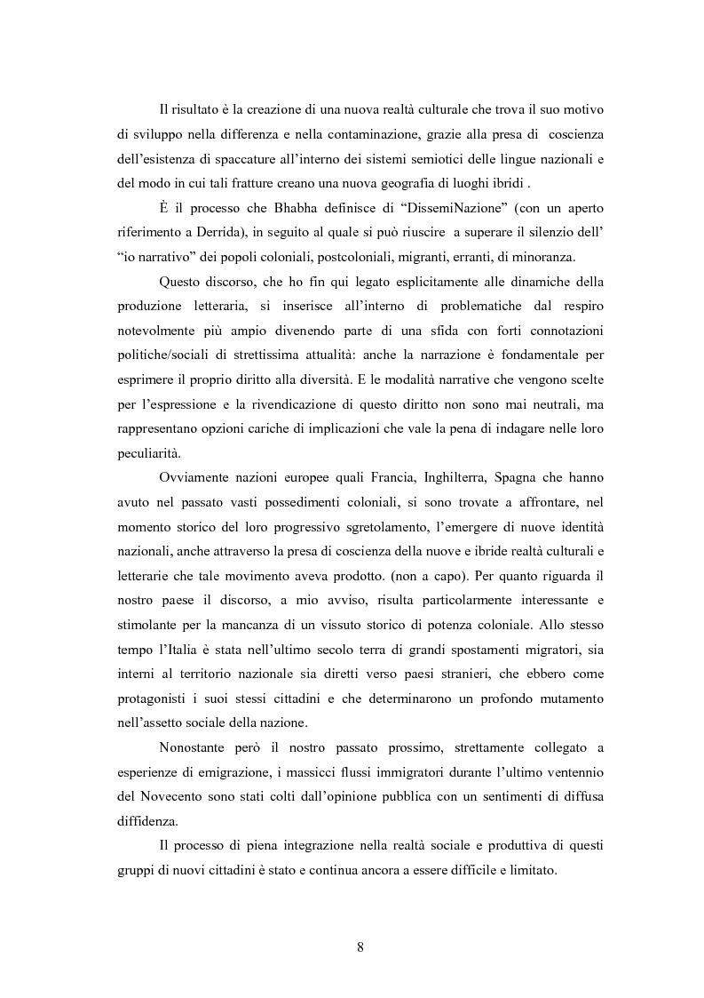Anteprima della tesi: Scritture a più voci. Il problema dell'autorialità nei primi testi della letteratura italiana della migrazione, Pagina 4