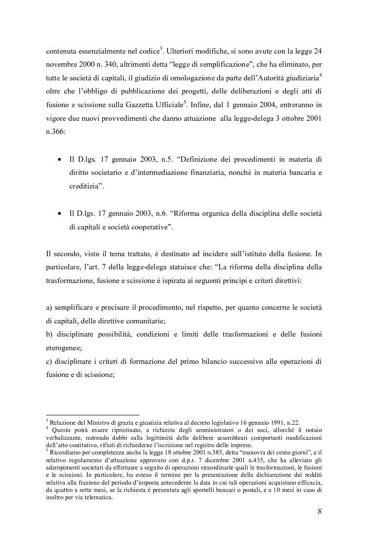 Anteprima della tesi: La fusione nella riforma del diritto societario, Pagina 5