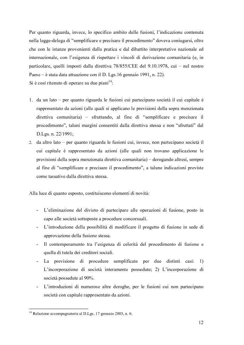 Anteprima della tesi: La fusione nella riforma del diritto societario, Pagina 9