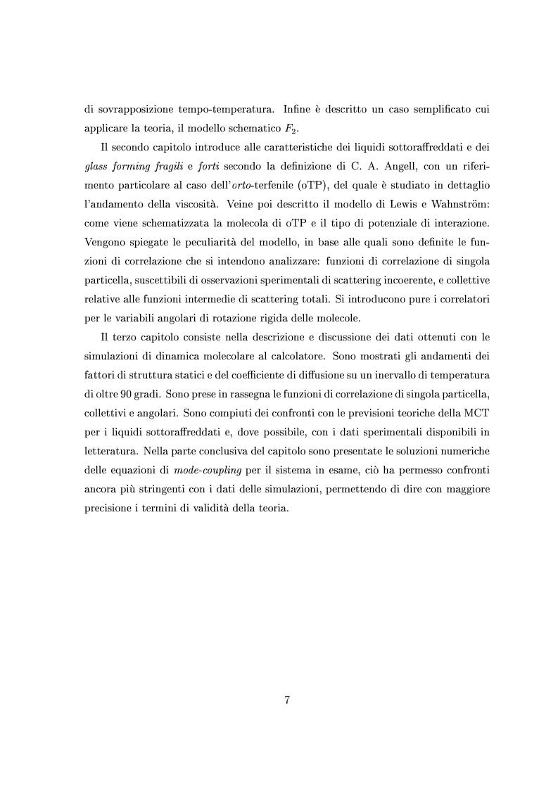 Anteprima della tesi: Dinamica lenta in liquidi molecolari sottoraffreddati: studio di un modello per l'ortoterfenile, Pagina 3