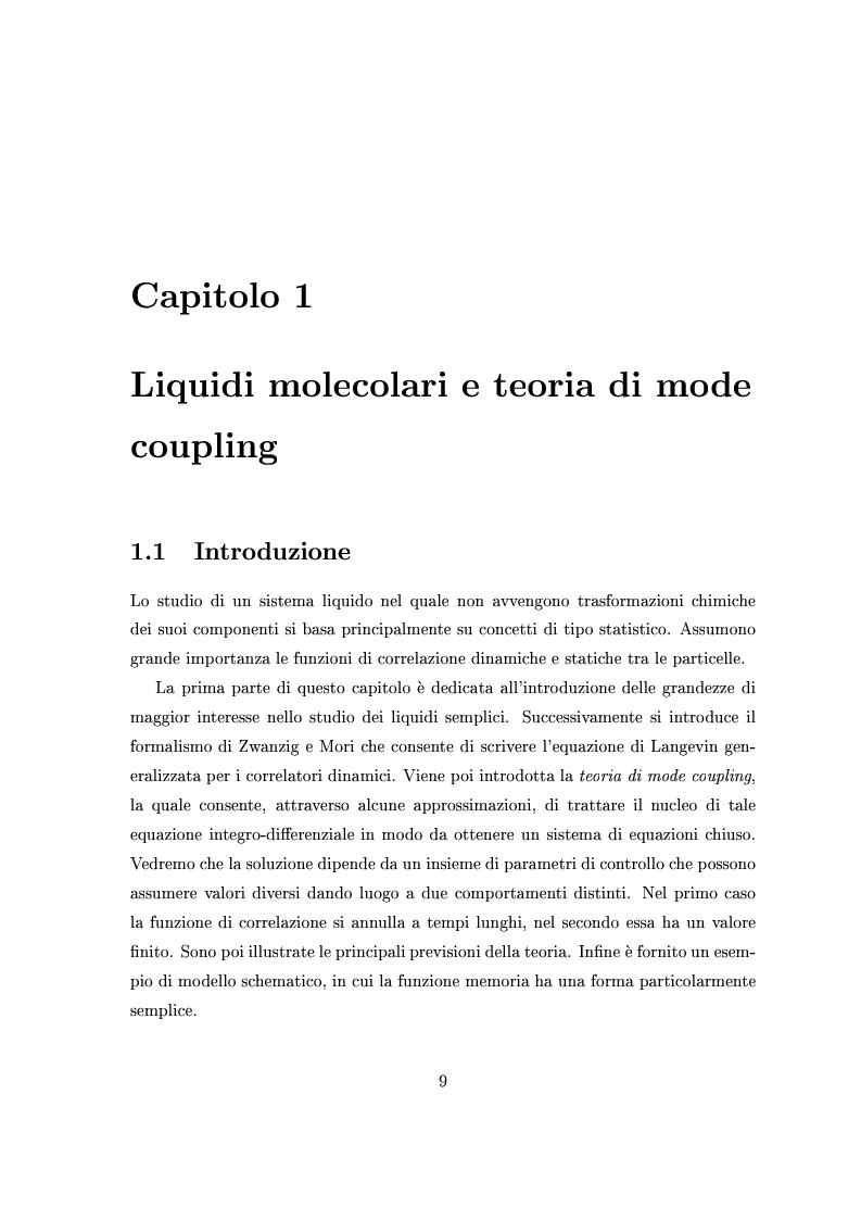Anteprima della tesi: Dinamica lenta in liquidi molecolari sottoraffreddati: studio di un modello per l'ortoterfenile, Pagina 4