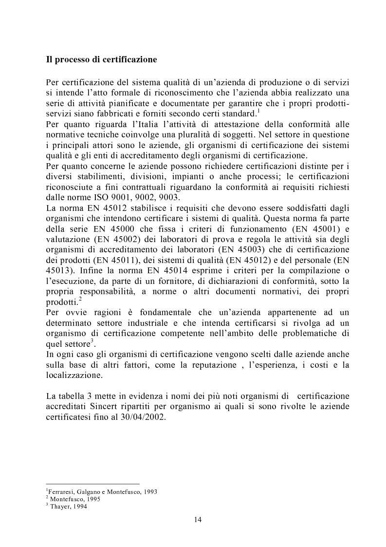 Anteprima della tesi: Risultati dei sistemi di qualità nelle aziende agroalimentari del Veneto, Pagina 9