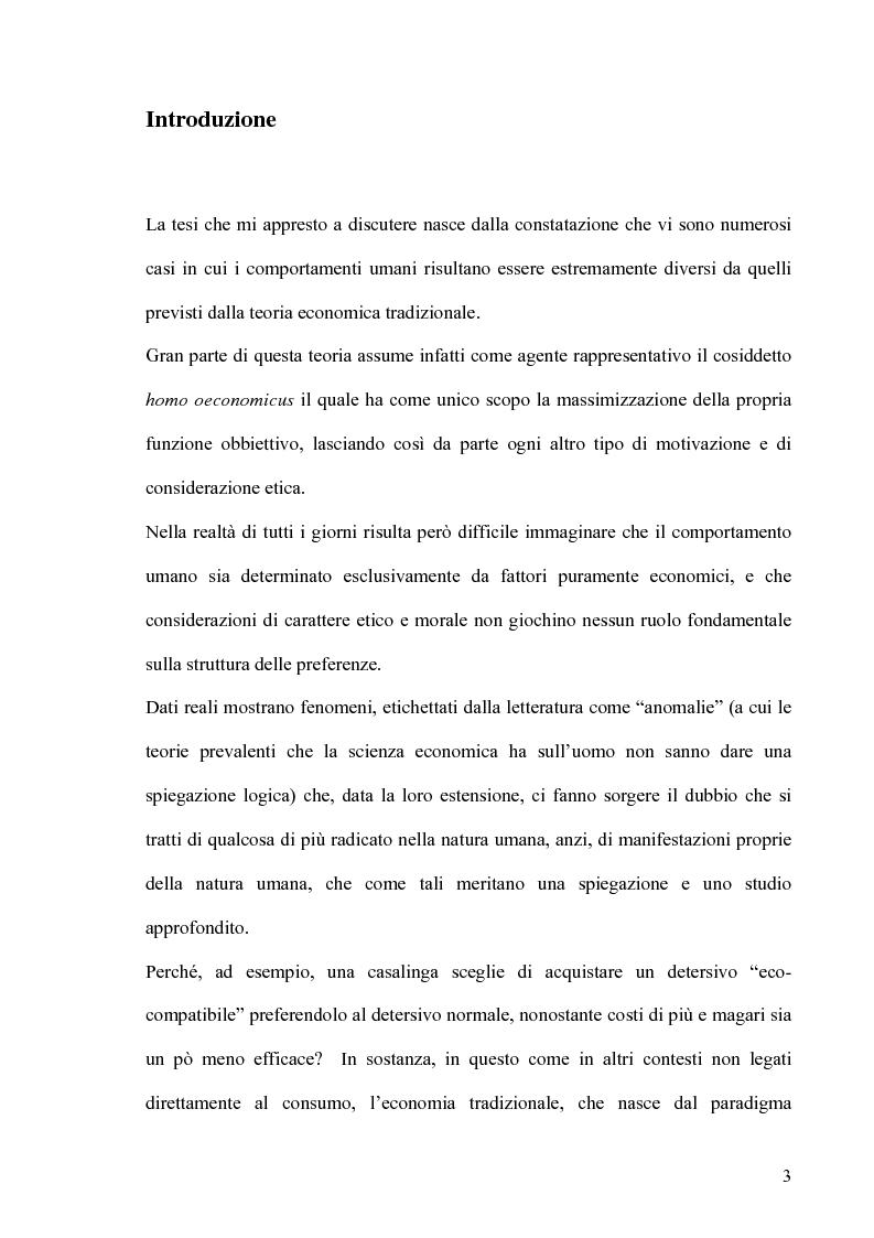 Anteprima della tesi: Altruismo, etica e modelli economici: un'analisi dei recenti contributi, Pagina 1