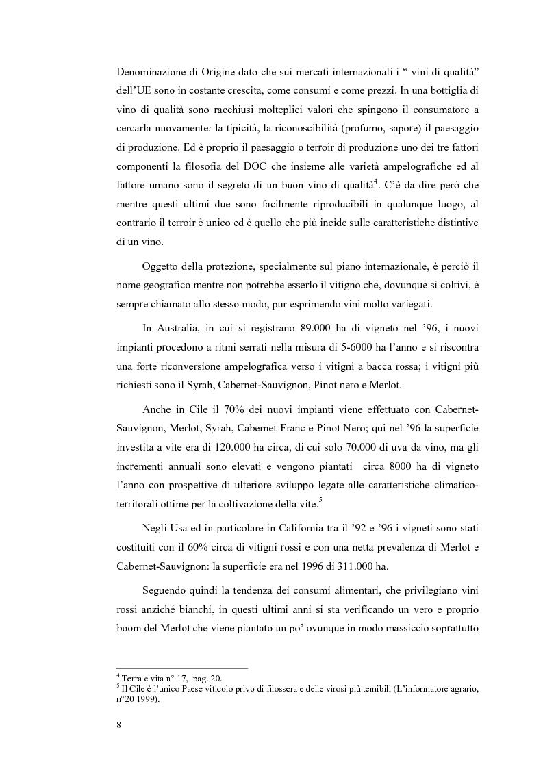 Anteprima della tesi: Evoluzione strutturale e legislativa del comparto vitivinicolo nazionale: il caso dei vini Doc della Maremma grossetana, Pagina 8