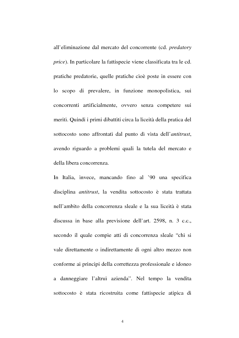 Anteprima della tesi: La vendita sottocosto come fattispecie atipica di concorrenza sleale, Pagina 2