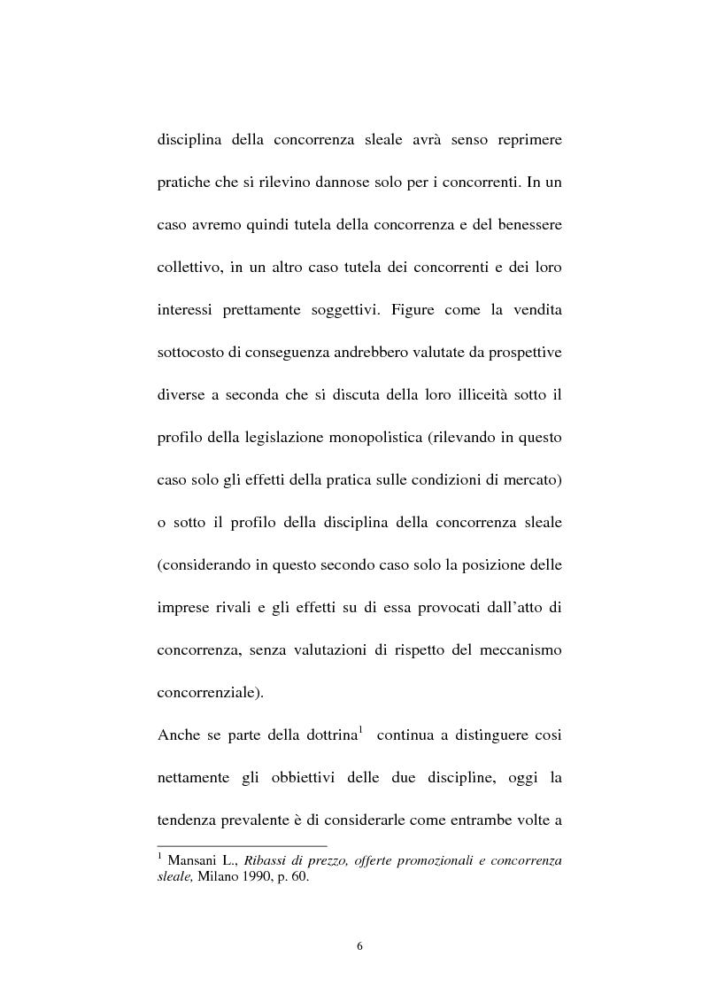 Anteprima della tesi: La vendita sottocosto come fattispecie atipica di concorrenza sleale, Pagina 4