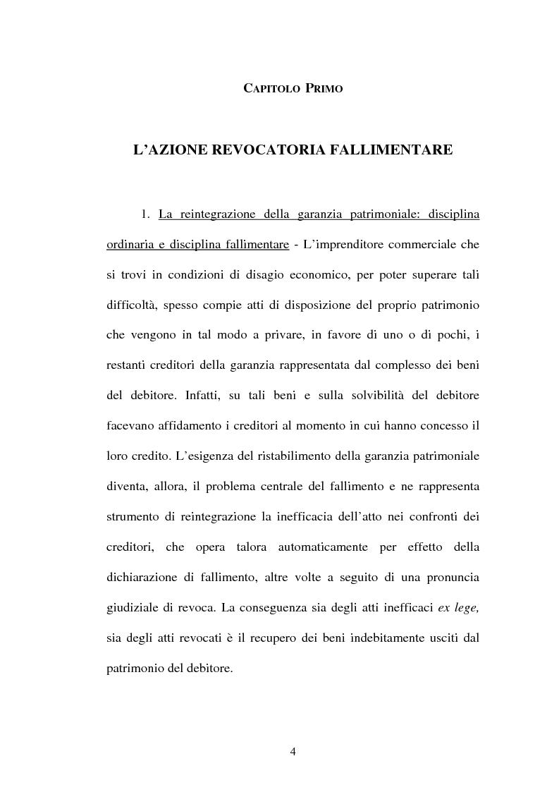 Anteprima della tesi: La revocatoria fallimentare ed il pagamento del terzo, Pagina 1