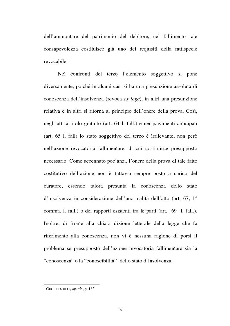 Anteprima della tesi: La revocatoria fallimentare ed il pagamento del terzo, Pagina 5
