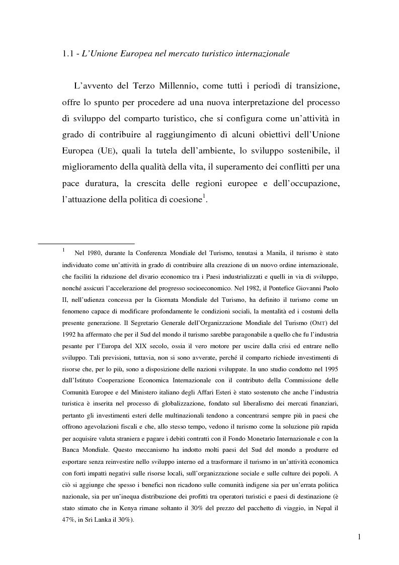 Anteprima della tesi: Il ruolo dell'organizzazione turistica pubblica per la competitività del sistema turistico europeo, Pagina 1